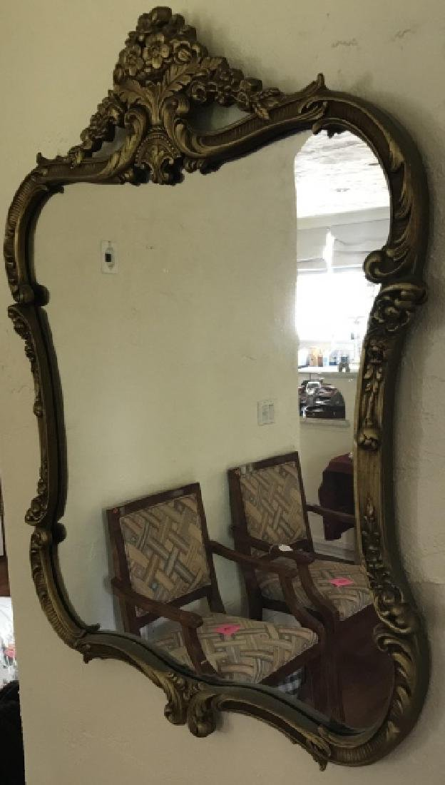 Gold Tone French Rococo Style Ornate Wall Mirror