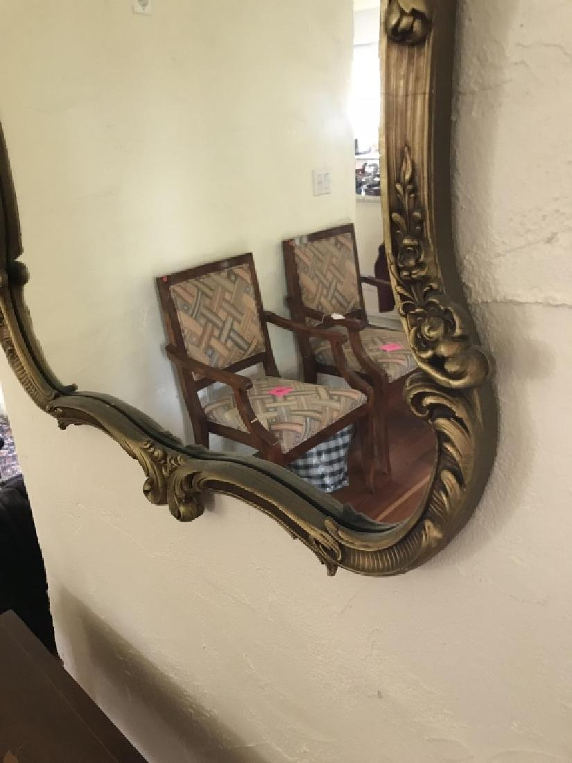 Gold Tone French Rococo Style Ornate Wall Mirror - 2