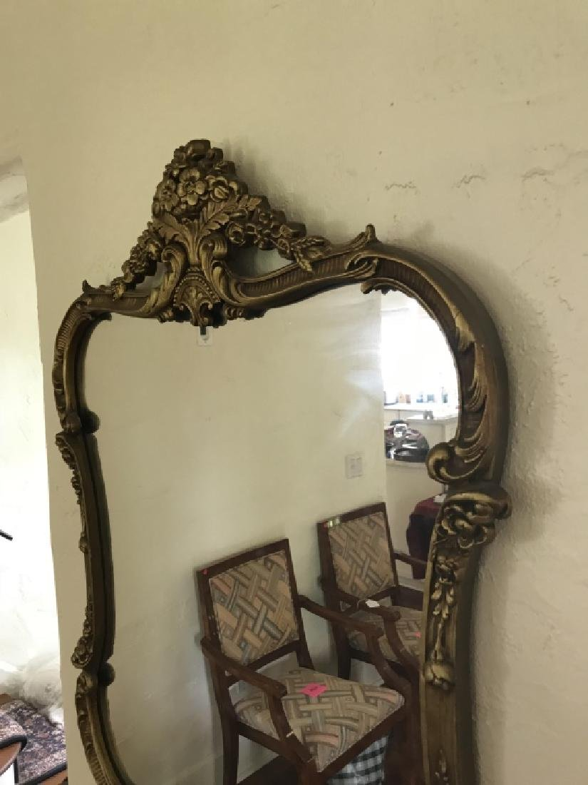Gold Tone French Rococo Style Ornate Wall Mirror - 3