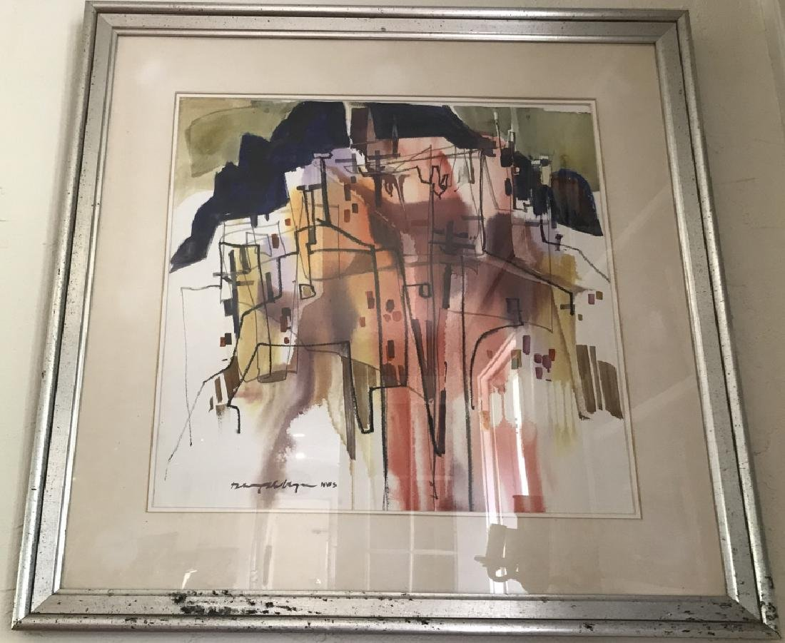 Modernist 20th C City Scape Watercolor Painting