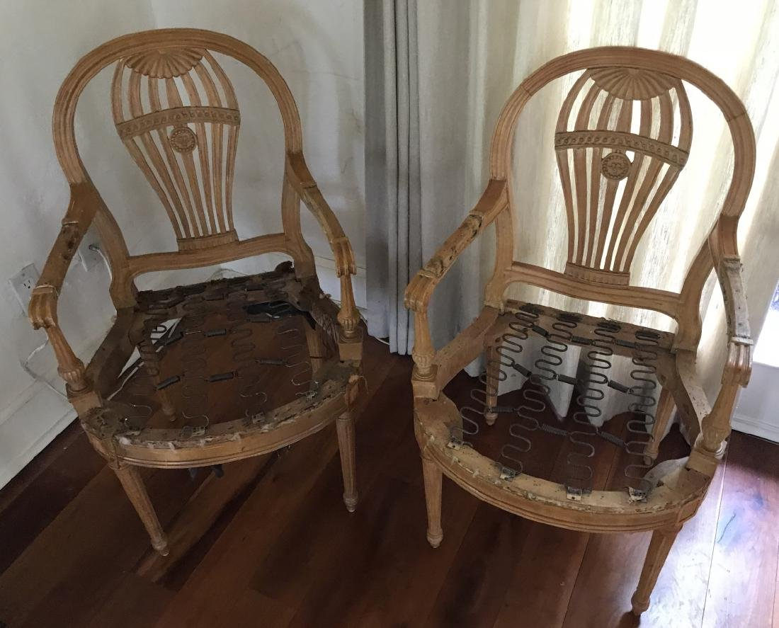 Pair Hand Carved Hot Air Balloon Motif Armchairs