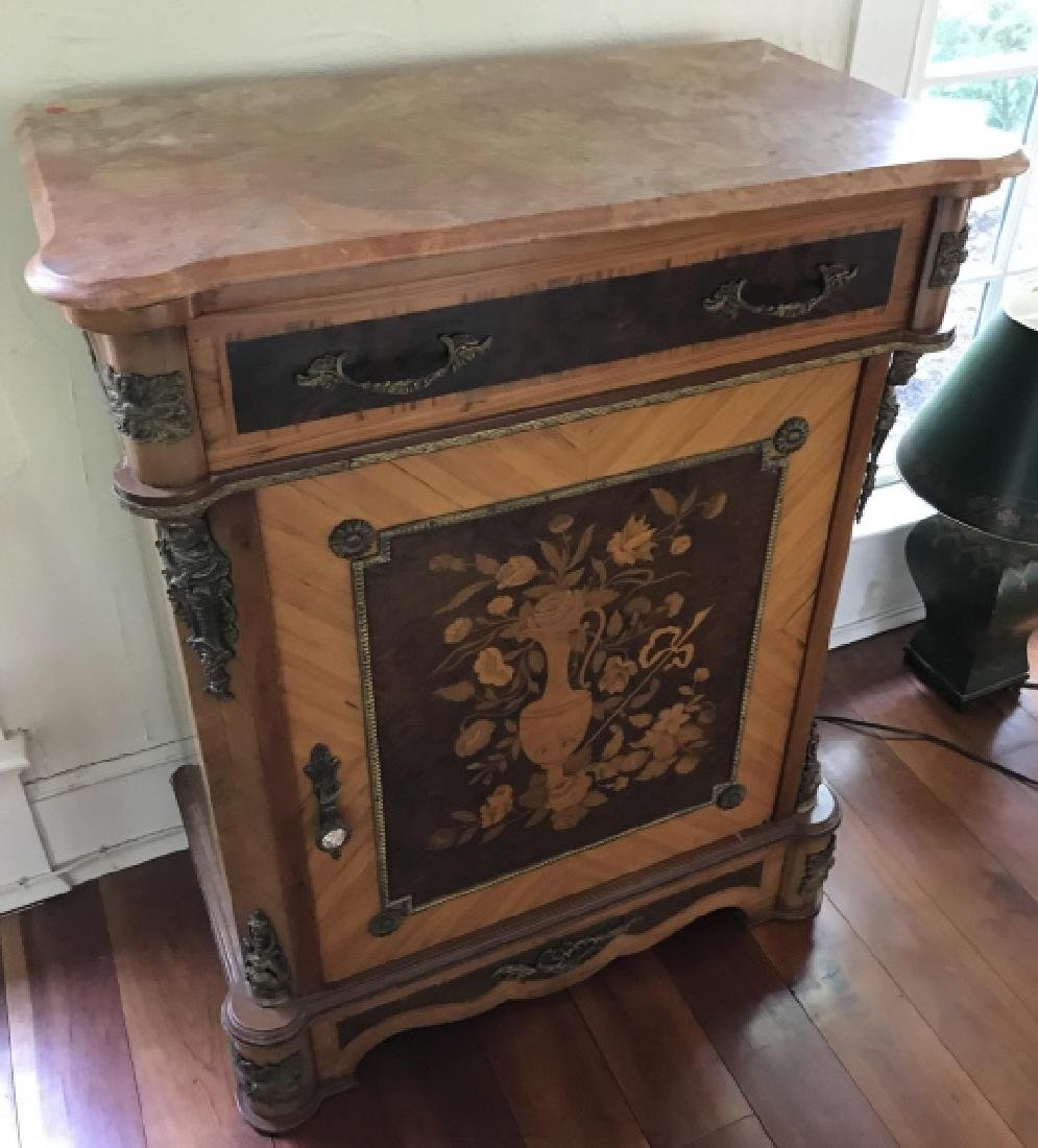 French Style Marquetry Inlay Marble Top Console