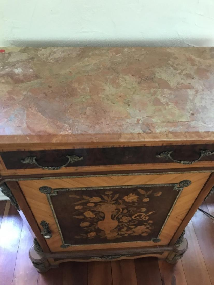 French Style Marquetry Inlay Marble Top Console - 3