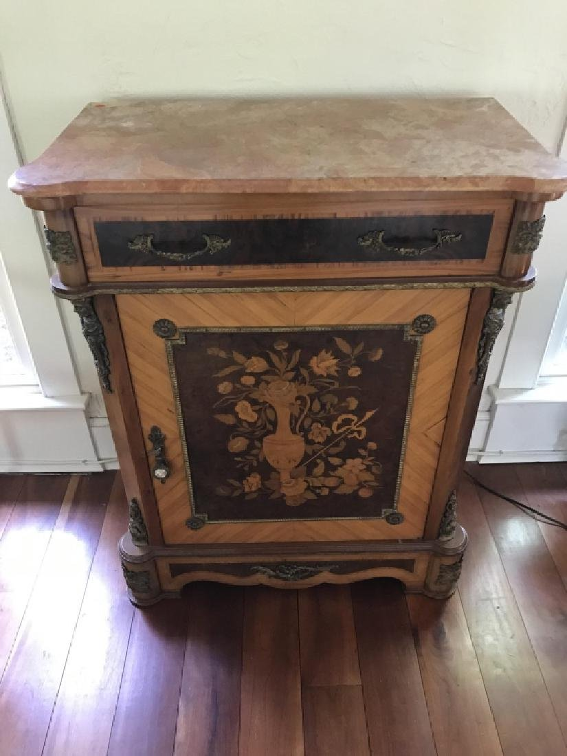 French Style Marquetry Inlay Marble Top Console - 4