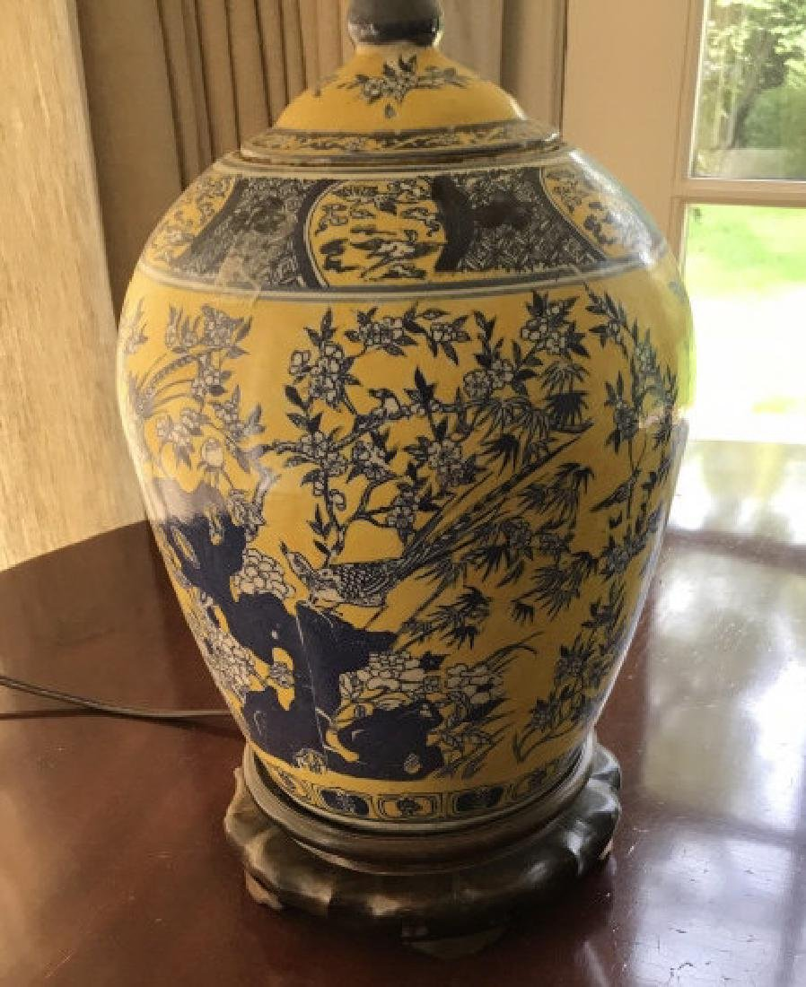 Chinese Hand Painted Porcelain Vase Mount Lamp