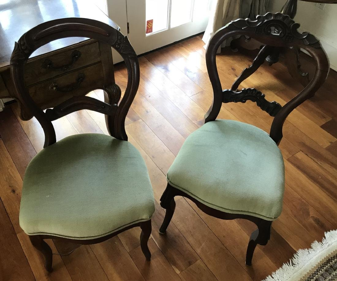 Two 19th C American Victorian Balloon Back Chairs