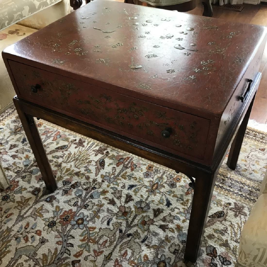Chinoiserie Style Painted Box on Stand End Table