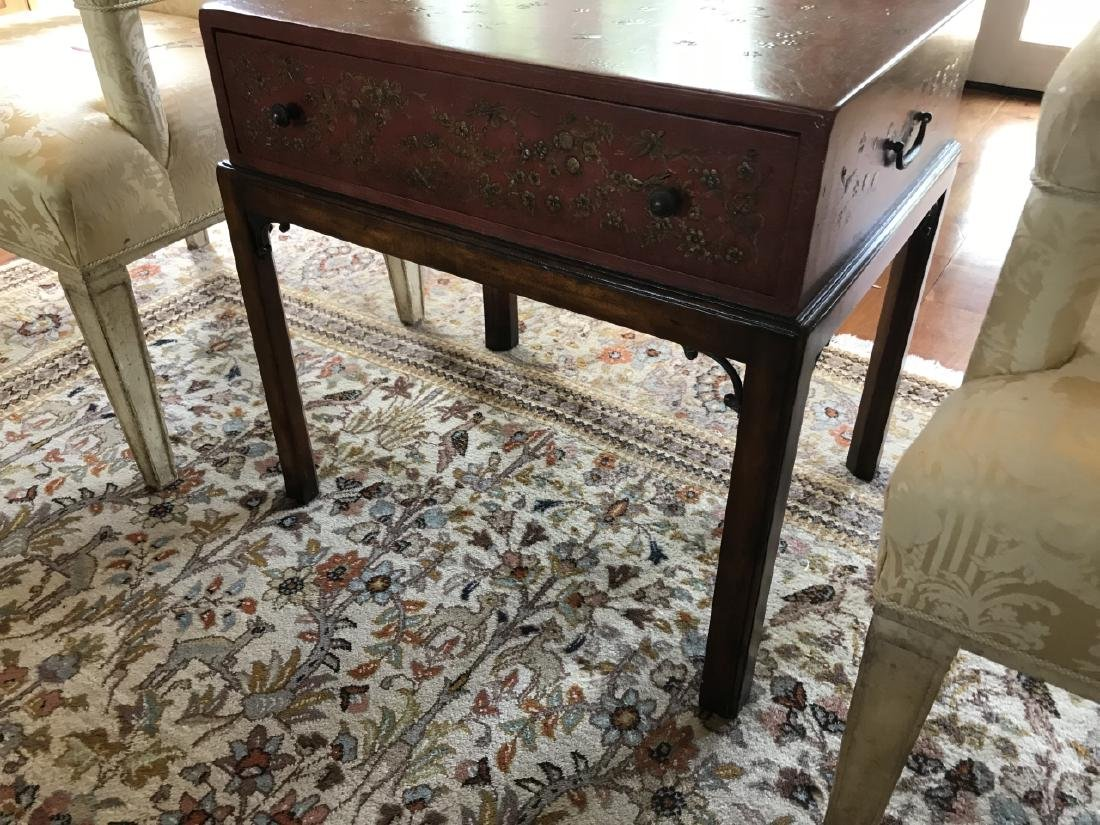 Chinoiserie Style Painted Box on Stand End Table - 2