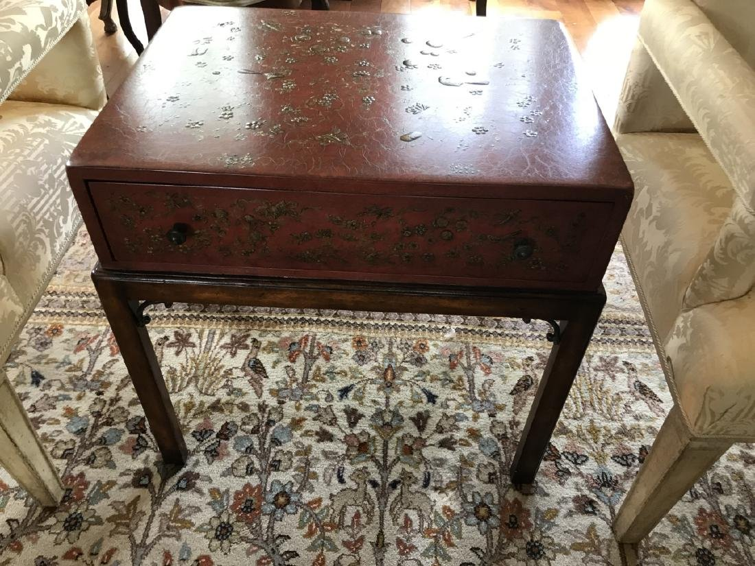 Chinoiserie Style Painted Box on Stand End Table - 3