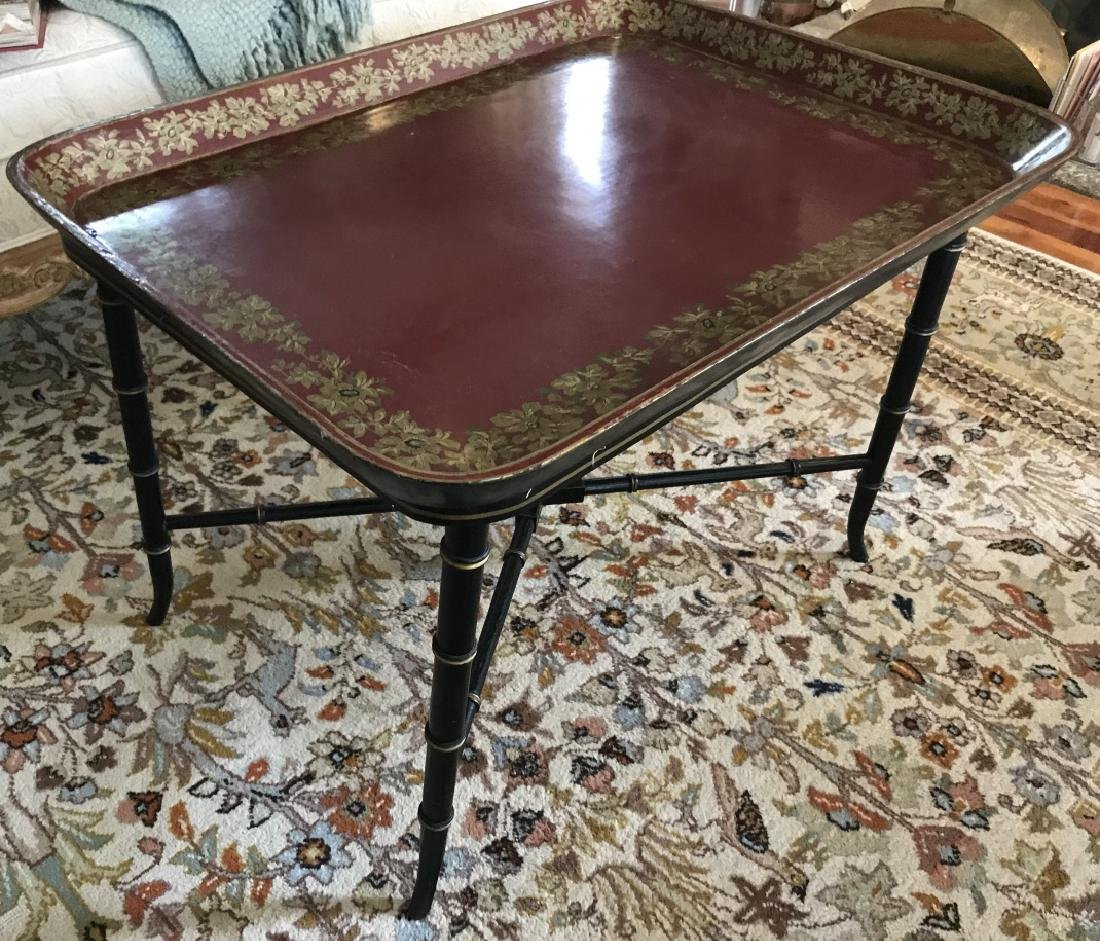 English Style Faux Bamboo Tray Top Coffee Table