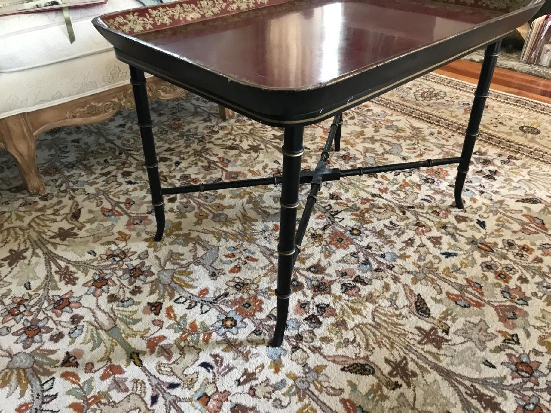 English Style Faux Bamboo Tray Top Coffee Table - 2