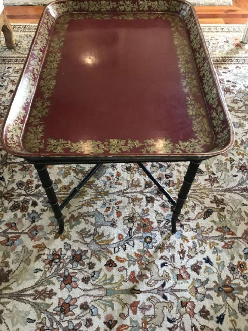English Style Faux Bamboo Tray Top Coffee Table - 3