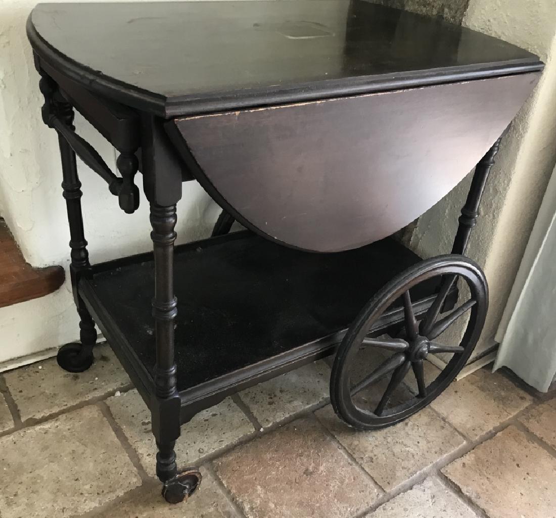 Vintage Painted Wood Bar Cart / Serving Trolley
