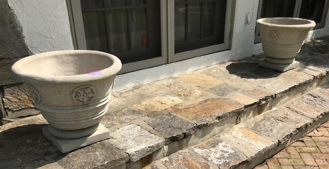 Pair of Large Cast Stone Garden Planters / Pots