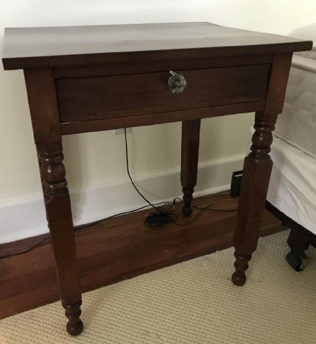 Antique American Empire End Table w Glass Knobs