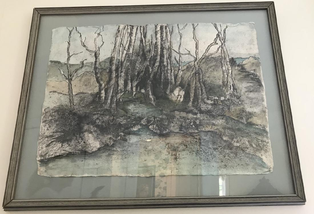 Mid Century Framed Watercolor Abstract Landscape