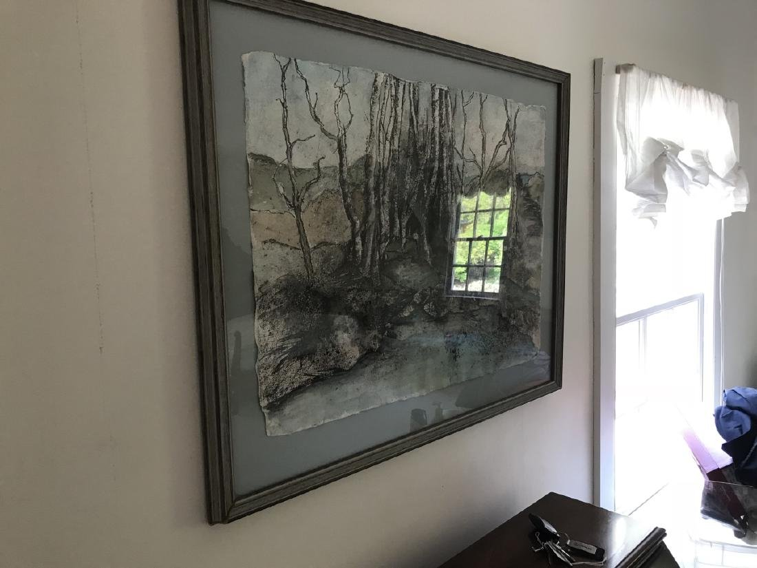 Mid Century Framed Watercolor Abstract Landscape - 2