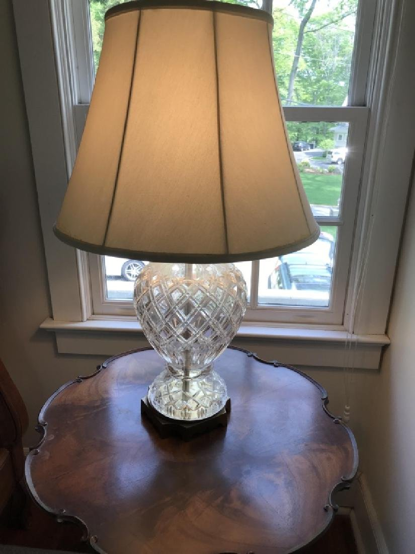 Waterford Style Cut Crystal Mount Table Lamp - 3