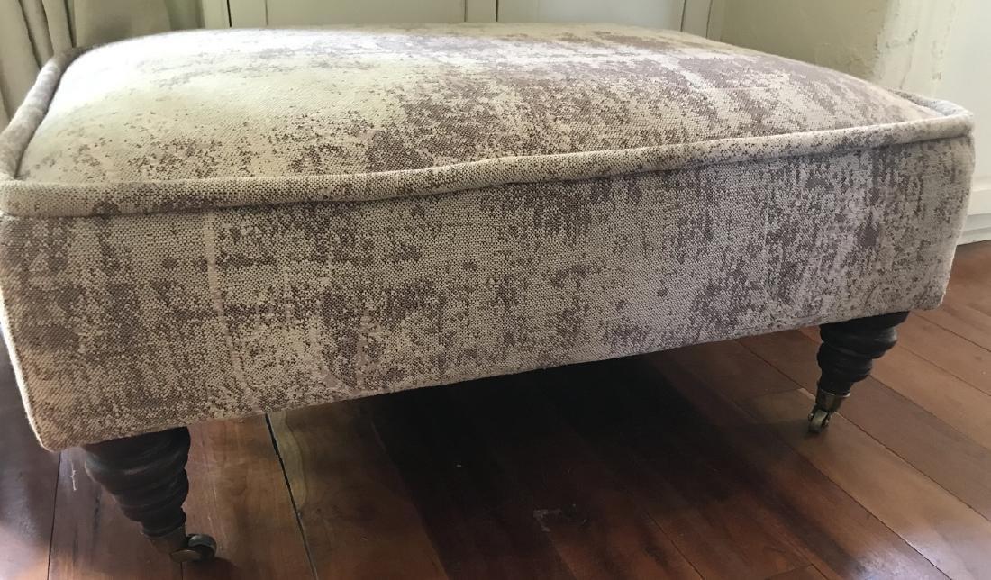 Custom Upholstered La Grange Ottoman w Bun Feet