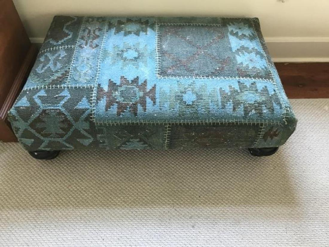 Custom Upholstered La Grange Ottoman w Bun Feet - 2