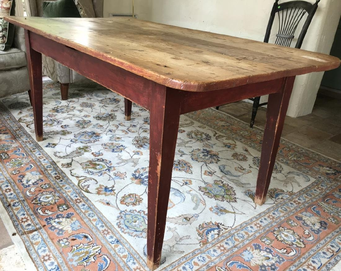 Antique Pine Wood Country Farm Dining Table