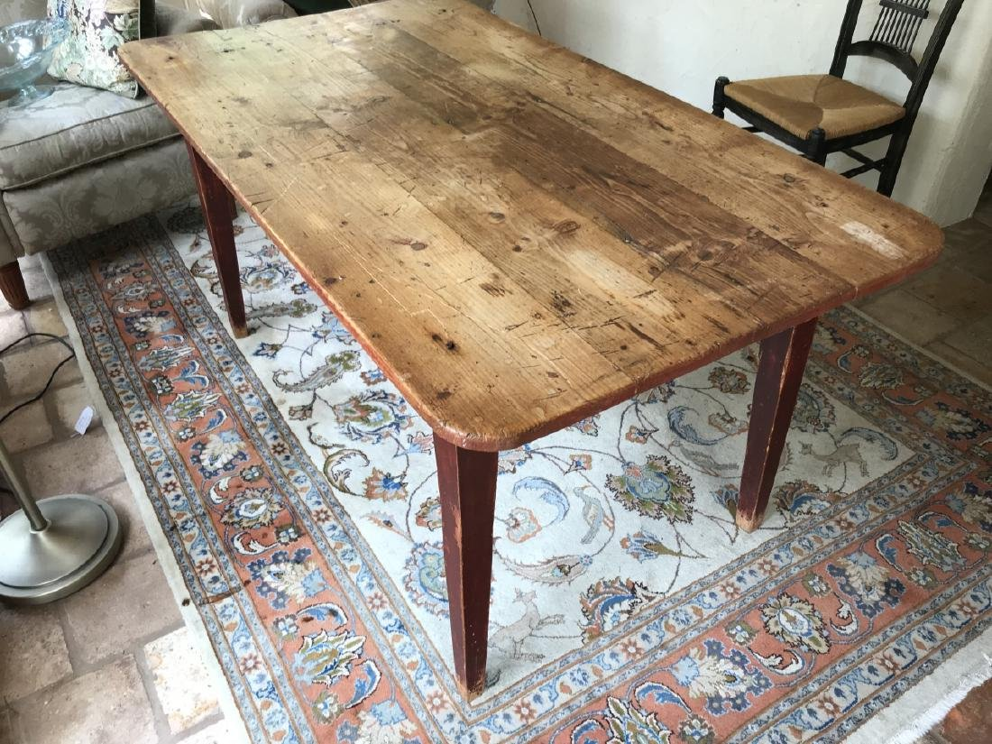 Antique Pine Wood Country Farm Dining Table - 2