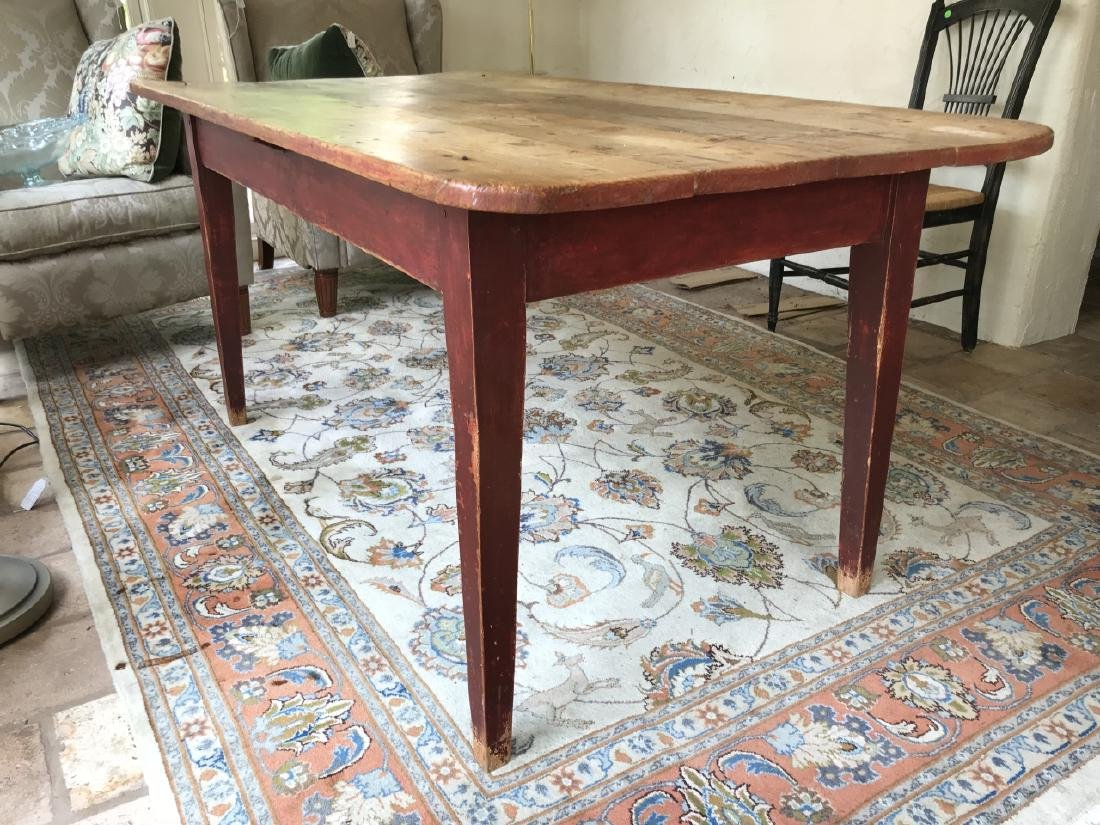 Antique Pine Wood Country Farm Dining Table - 3
