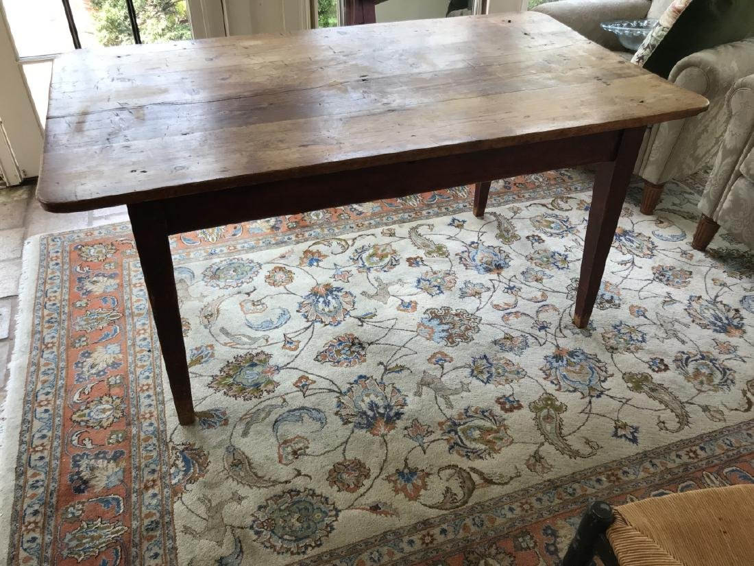 Antique Pine Wood Country Farm Dining Table - 4