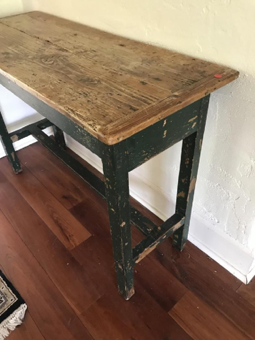 Antique Pine Wood Country Farm Console Table - 2