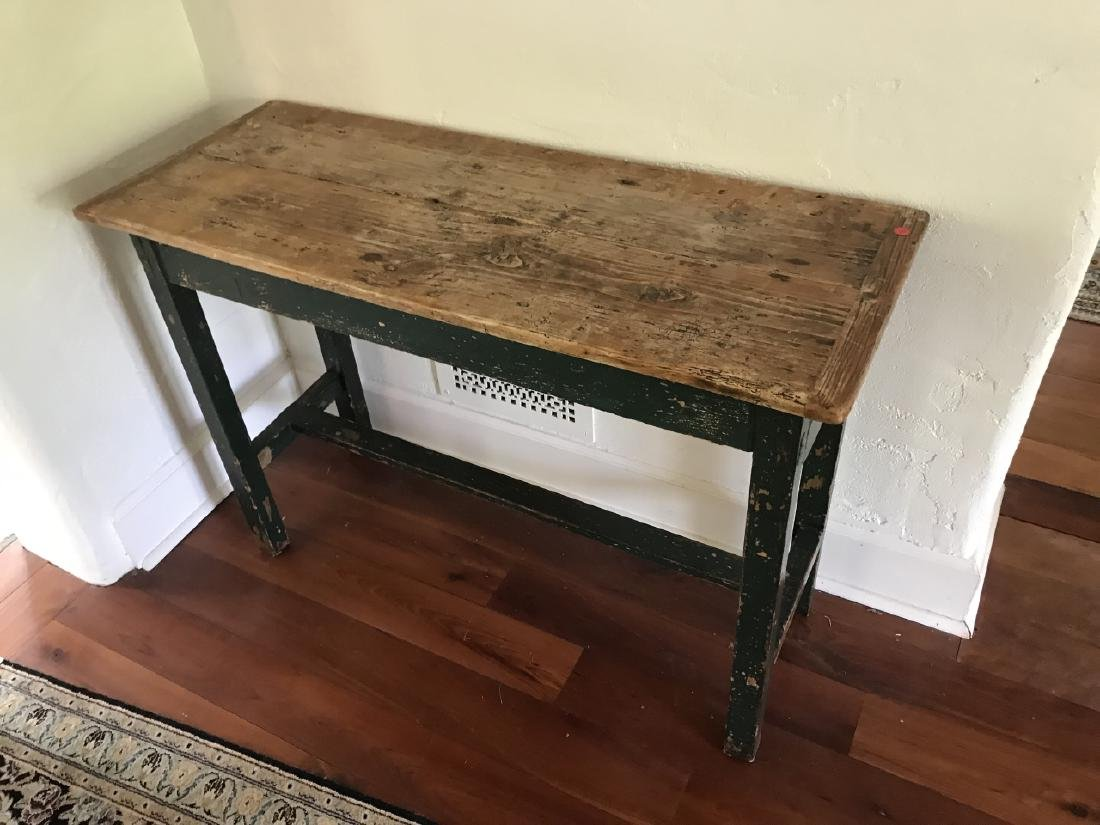Antique Pine Wood Country Farm Console Table - 3