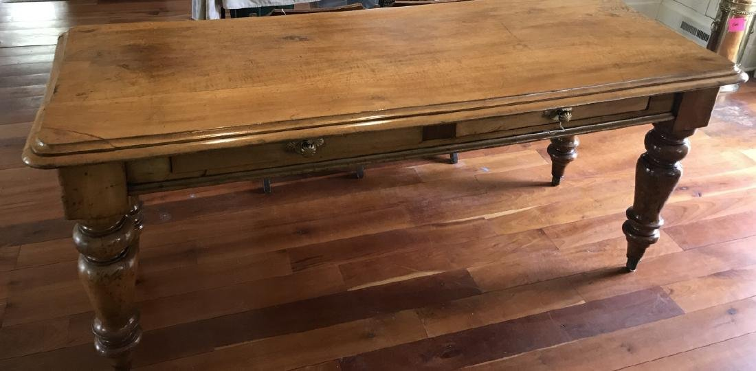 Antique Farm Kitchen or Dining Table w Drawers
