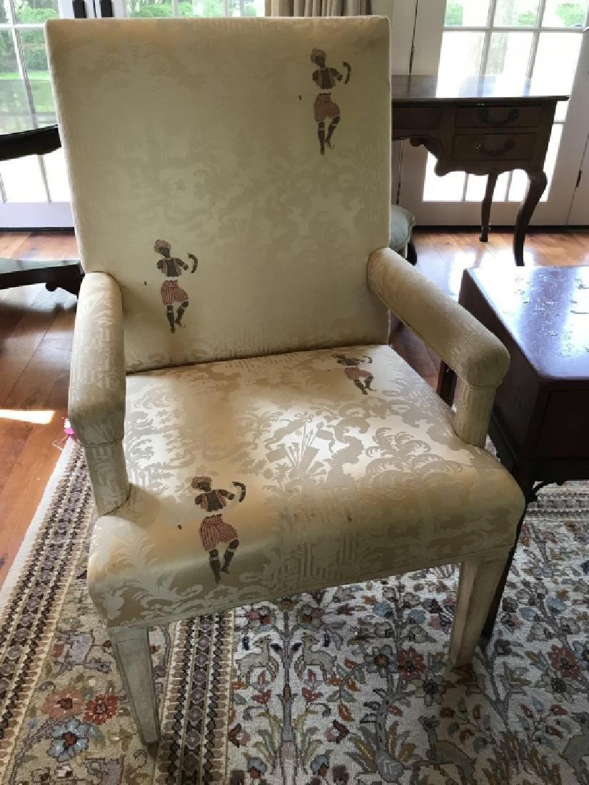 Custom Upholstered Chinoiserie Fabric Armchairs