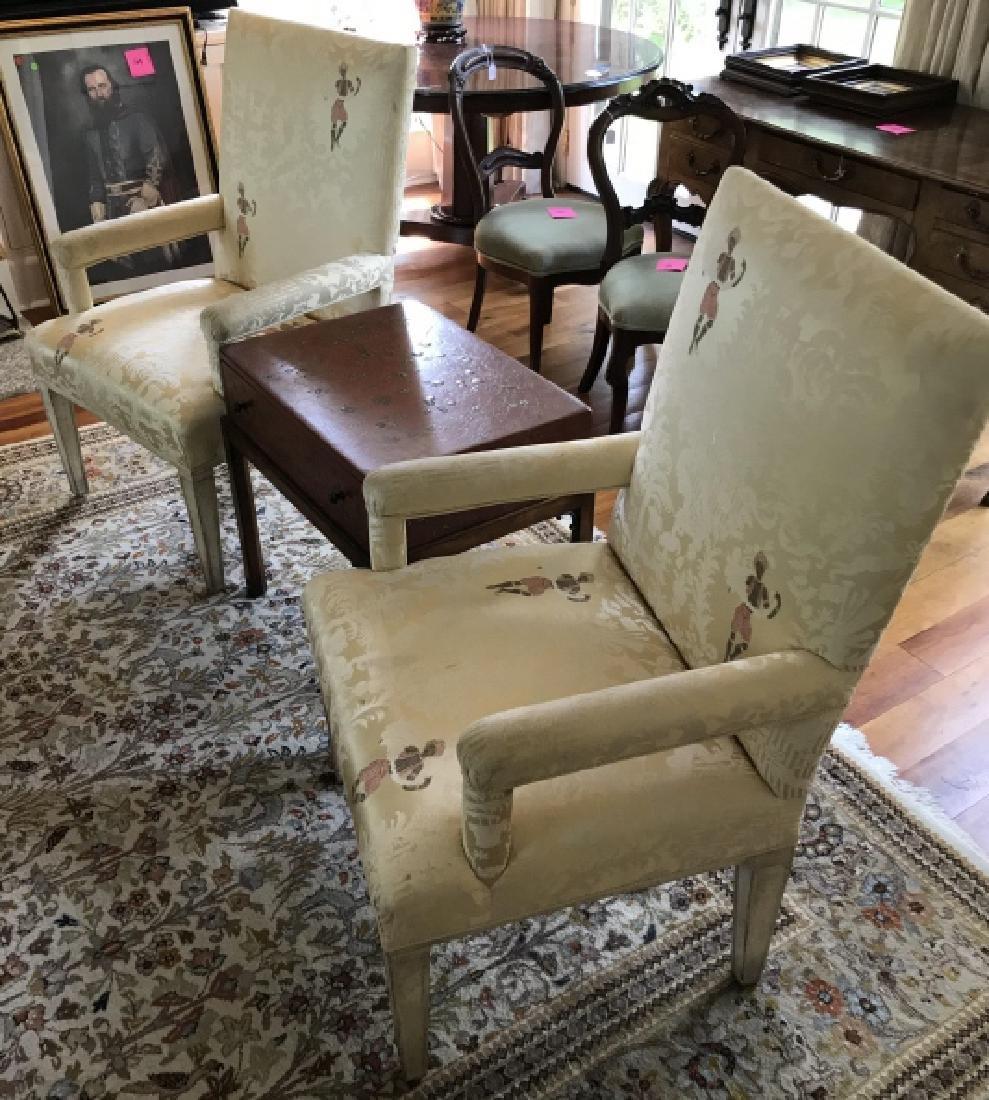 Custom Upholstered Chinoiserie Fabric Armchairs - 3