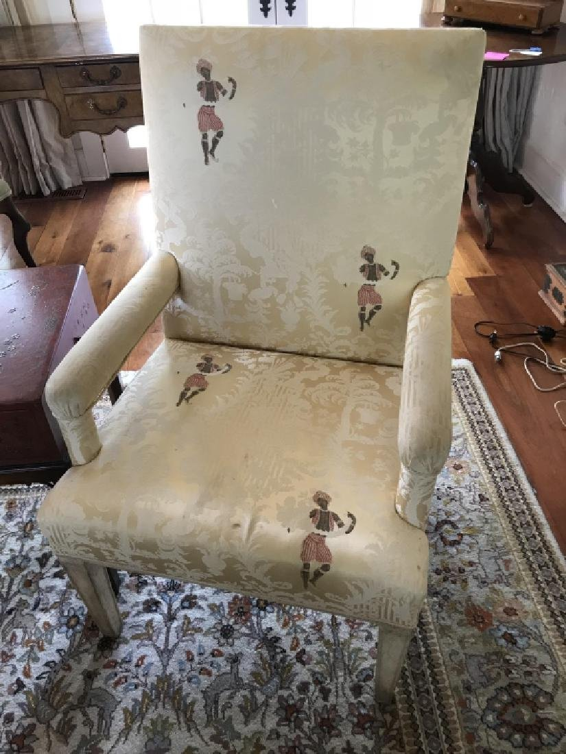 Custom Upholstered Chinoiserie Fabric Armchairs - 4