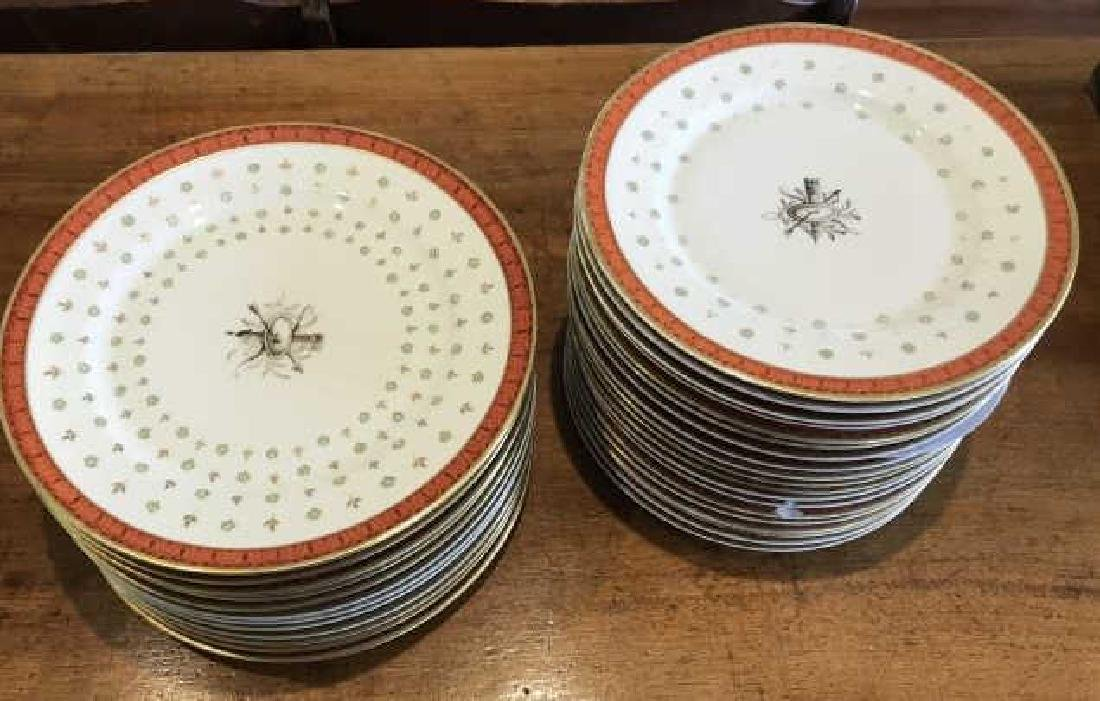 Two Sets of French Hand Painted Porcelain Plates