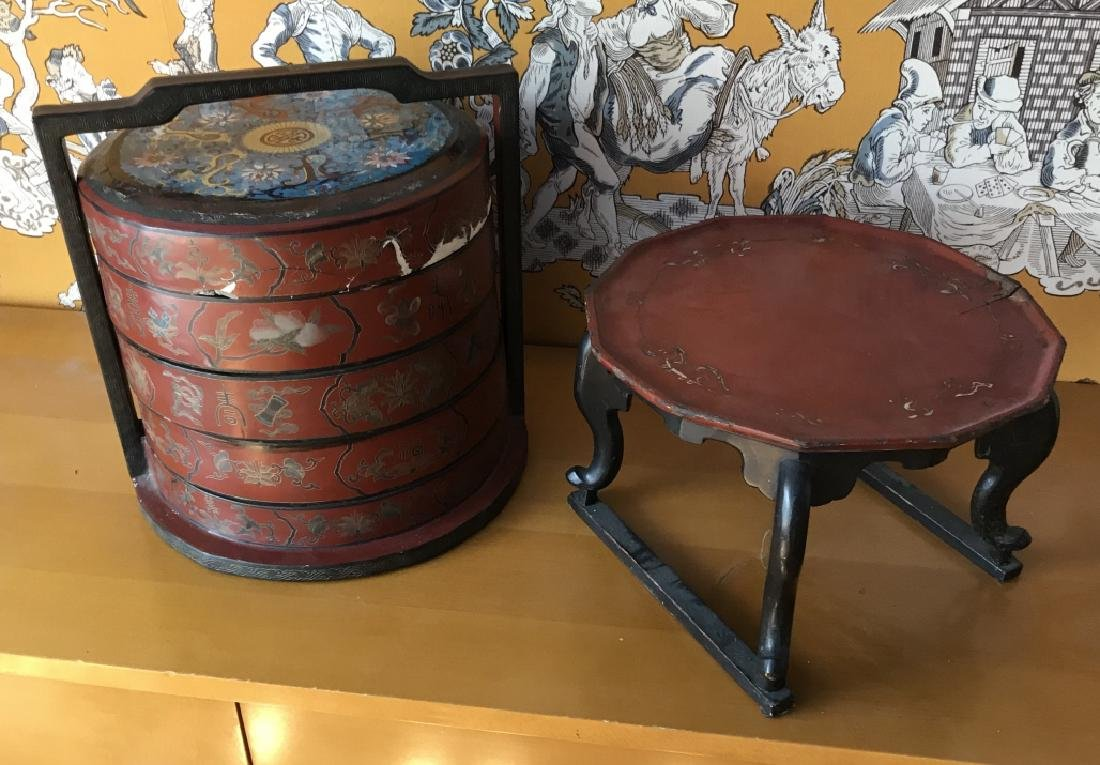 Chinese / Asian Lacquer Tea Table & Stacking Boxes