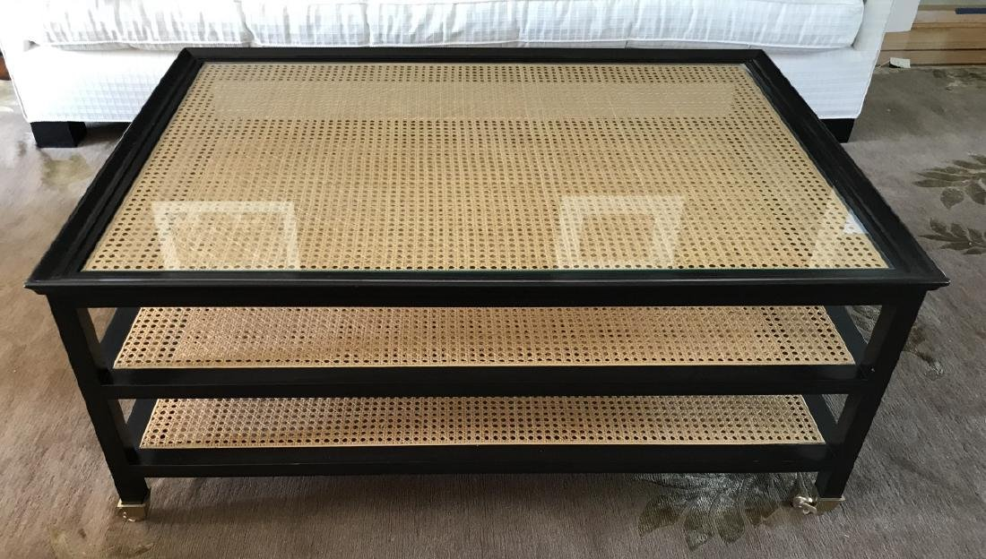 Contemporary John Boone Caned & Glass Coffee Table