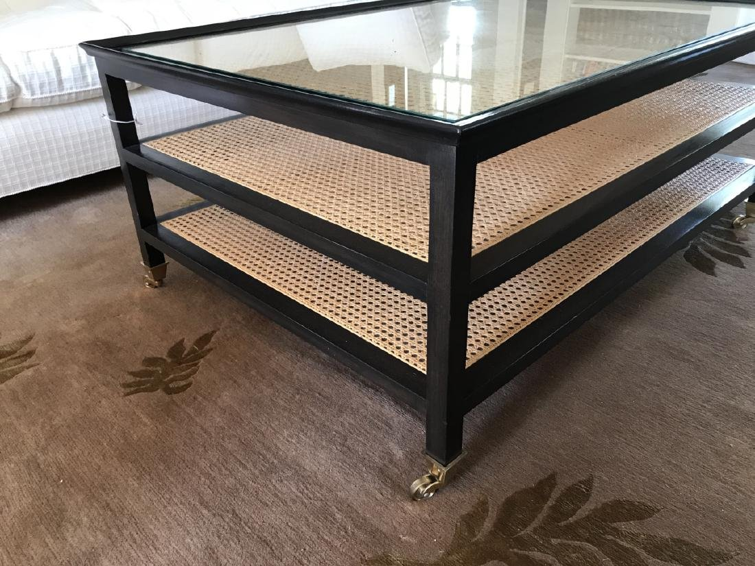 Contemporary John Boone Caned & Glass Coffee Table - 2