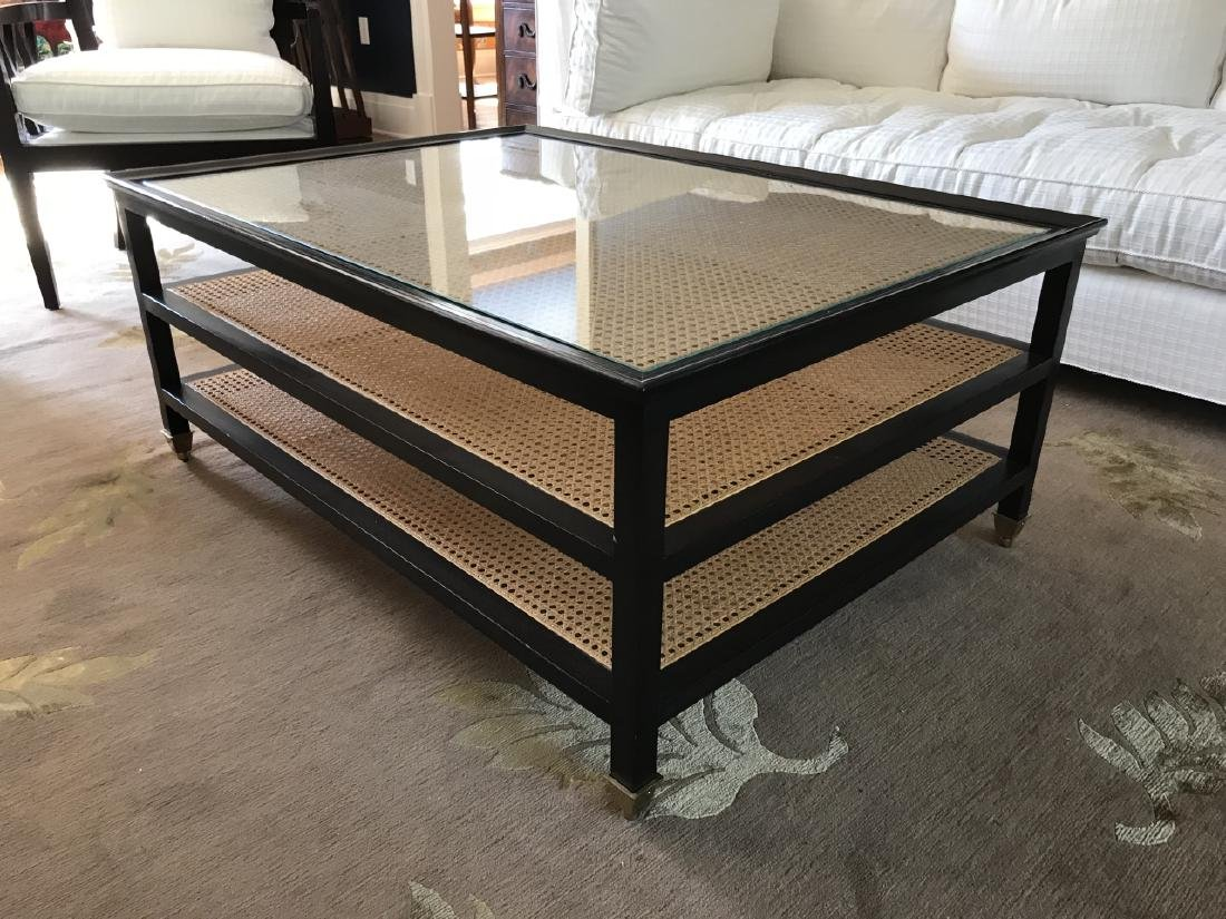 Contemporary John Boone Caned & Glass Coffee Table - 3