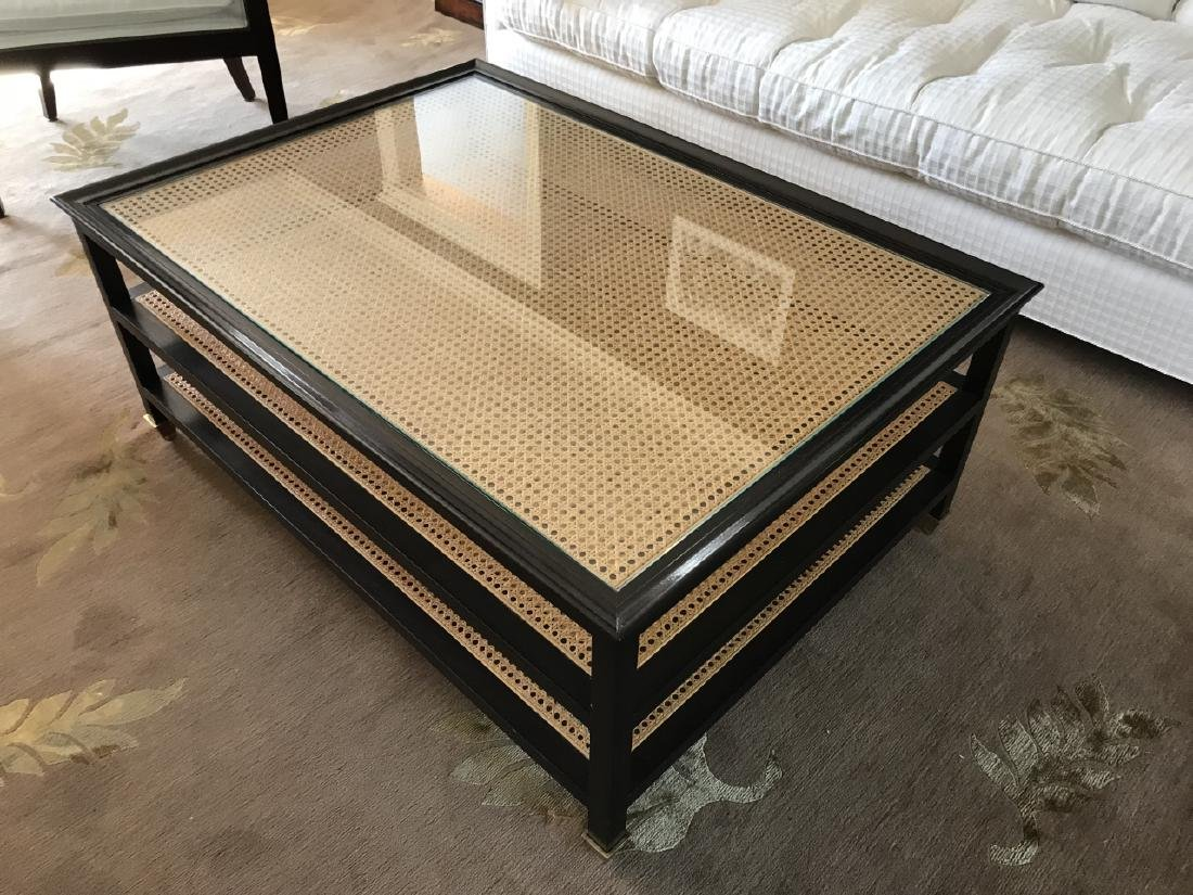 Contemporary John Boone Caned & Glass Coffee Table - 4