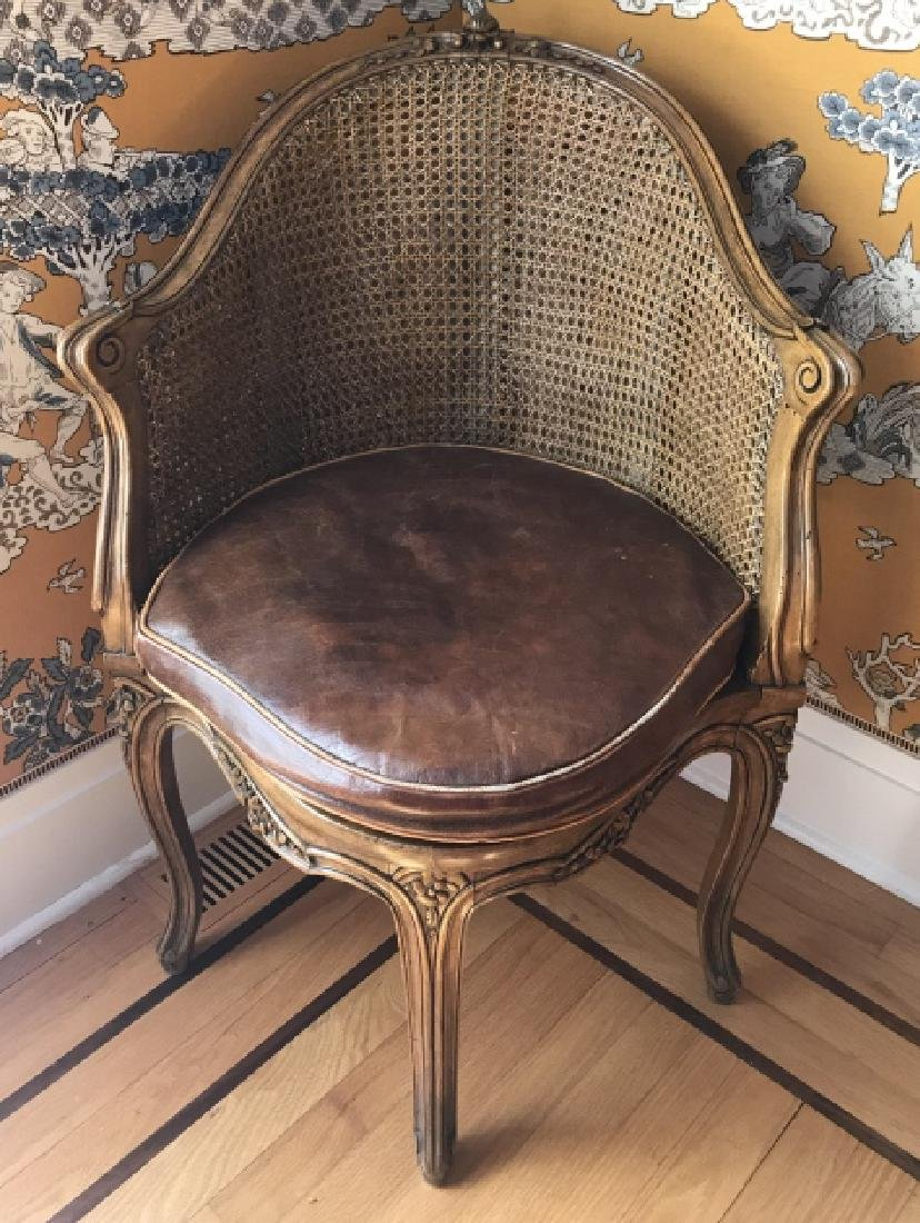 Antique 19th C Carved & Caned French Corner Chair