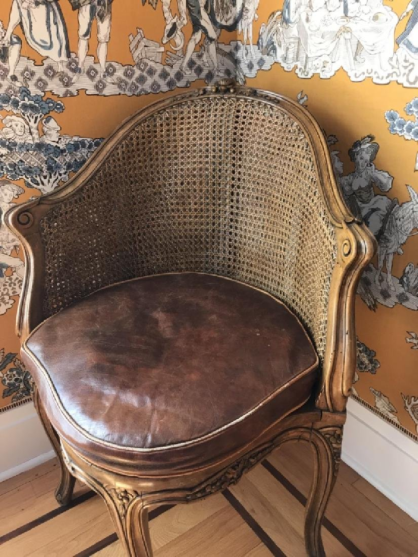 Antique 19th C Carved & Caned French Corner Chair - 3