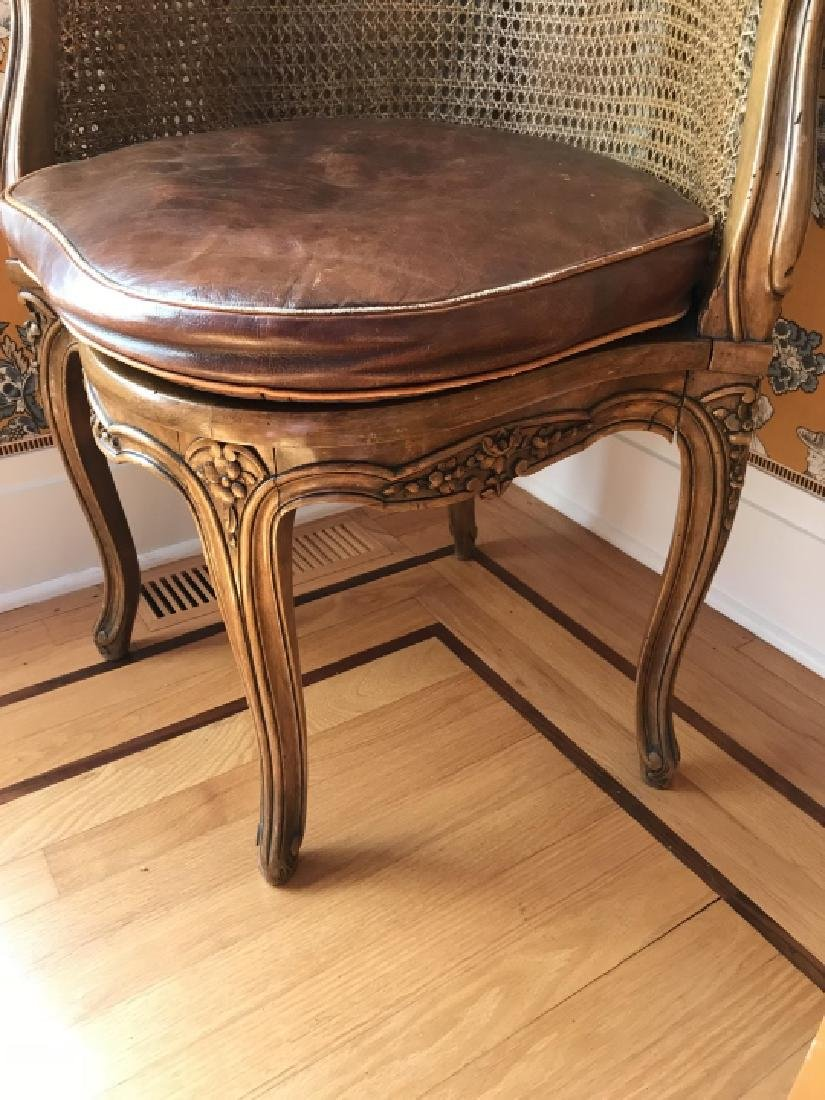 Antique 19th C Carved & Caned French Corner Chair - 4