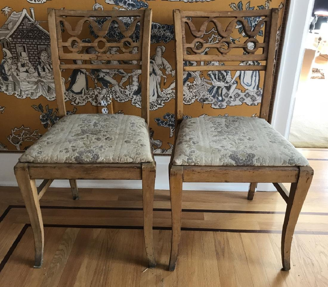 Pair of Antique 19th C Carved Back Side Chairs