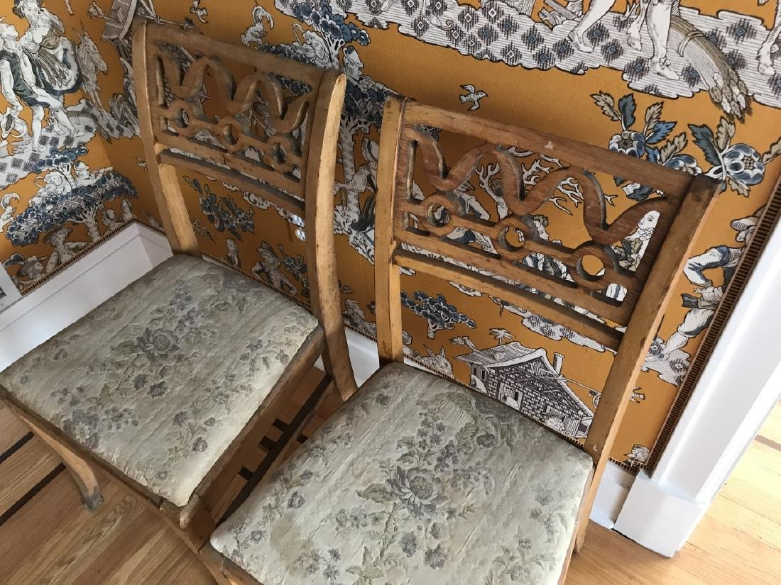 Pair of Antique 19th C Carved Back Side Chairs - 2