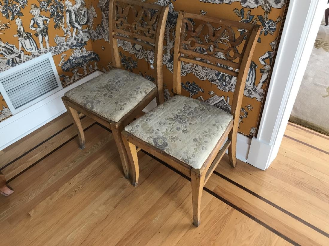 Pair of Antique 19th C Carved Back Side Chairs - 3