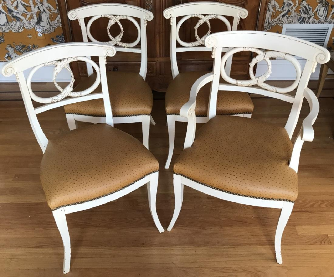 4 Hand Carved Serpent Motif Ostrich Leather Chairs