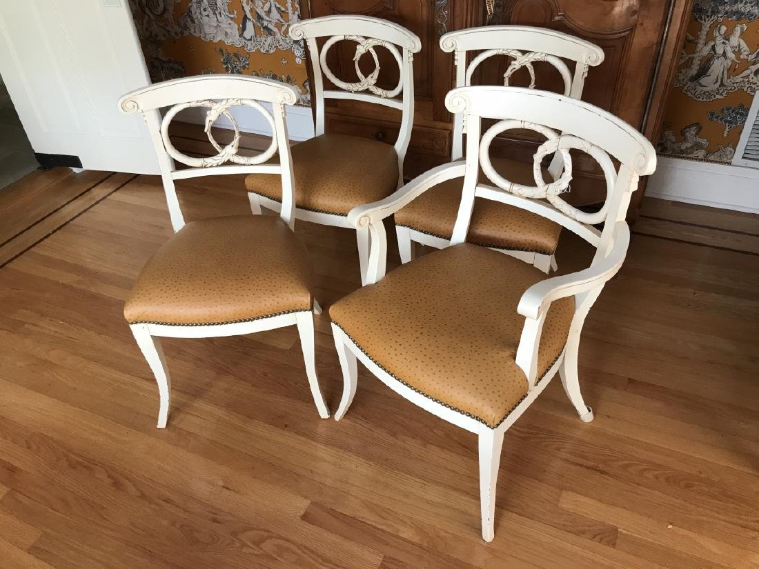 4 Hand Carved Serpent Motif Ostrich Leather Chairs - 3