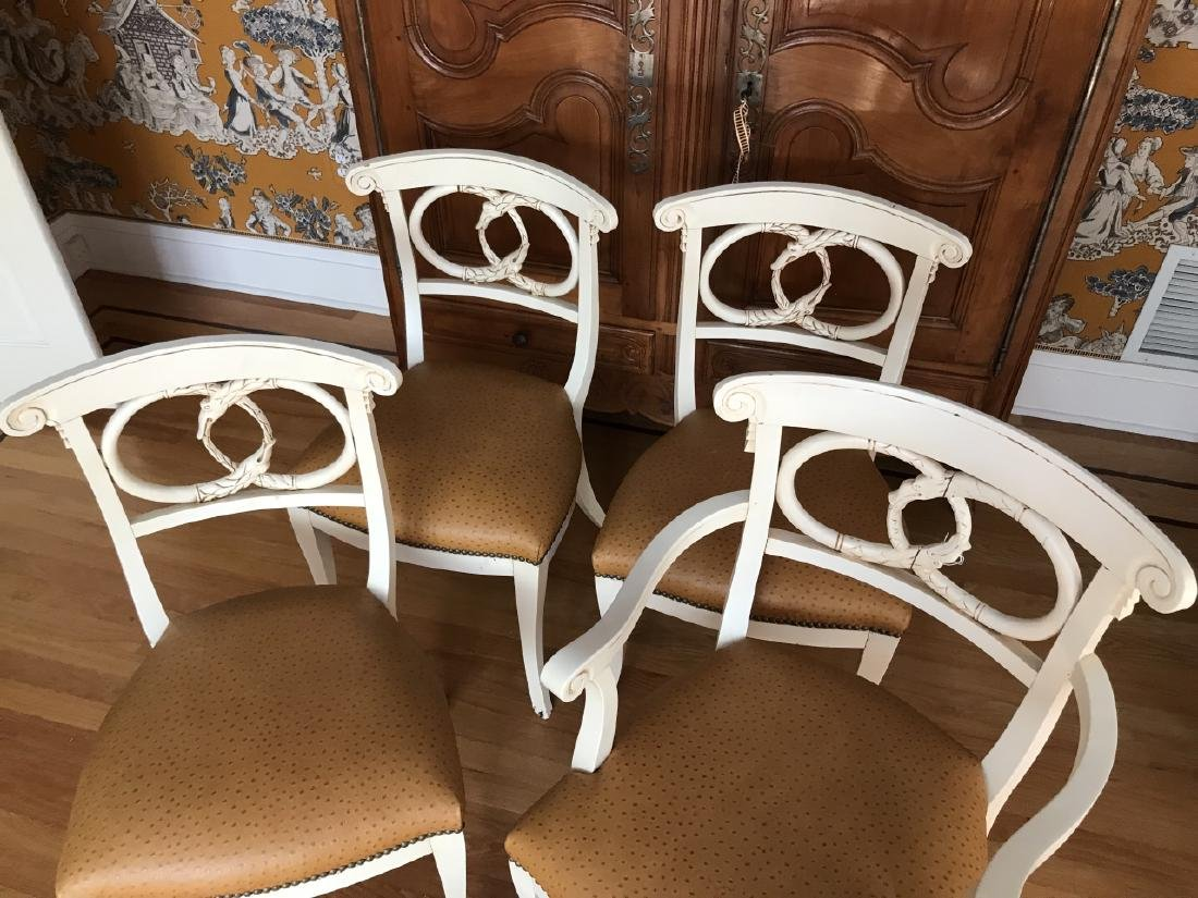 4 Hand Carved Serpent Motif Ostrich Leather Chairs - 4