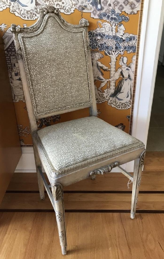 French Carved Side Chair in Silver Leaf & Leopard